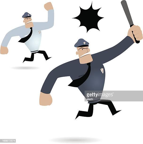 Polícia homem em execução e Gritar (carretéis perseguir