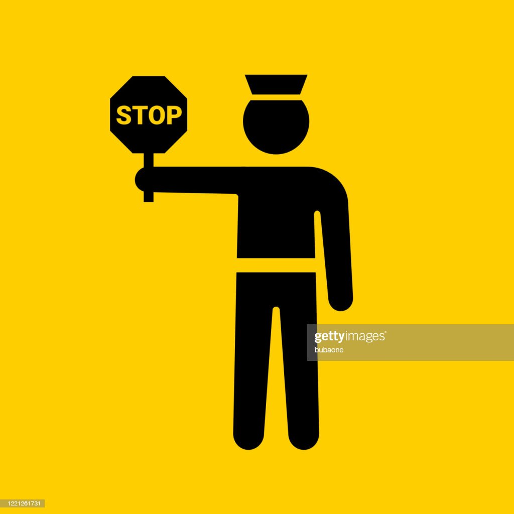 Police Man With A Stop Sign Icon High Res Vector Graphic Getty Images