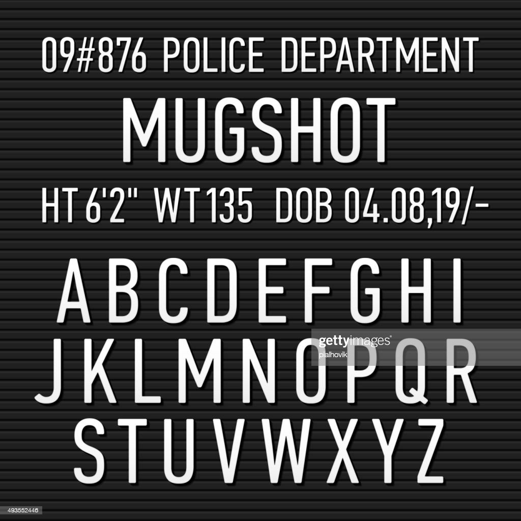 Police mugshot board sign alphabet