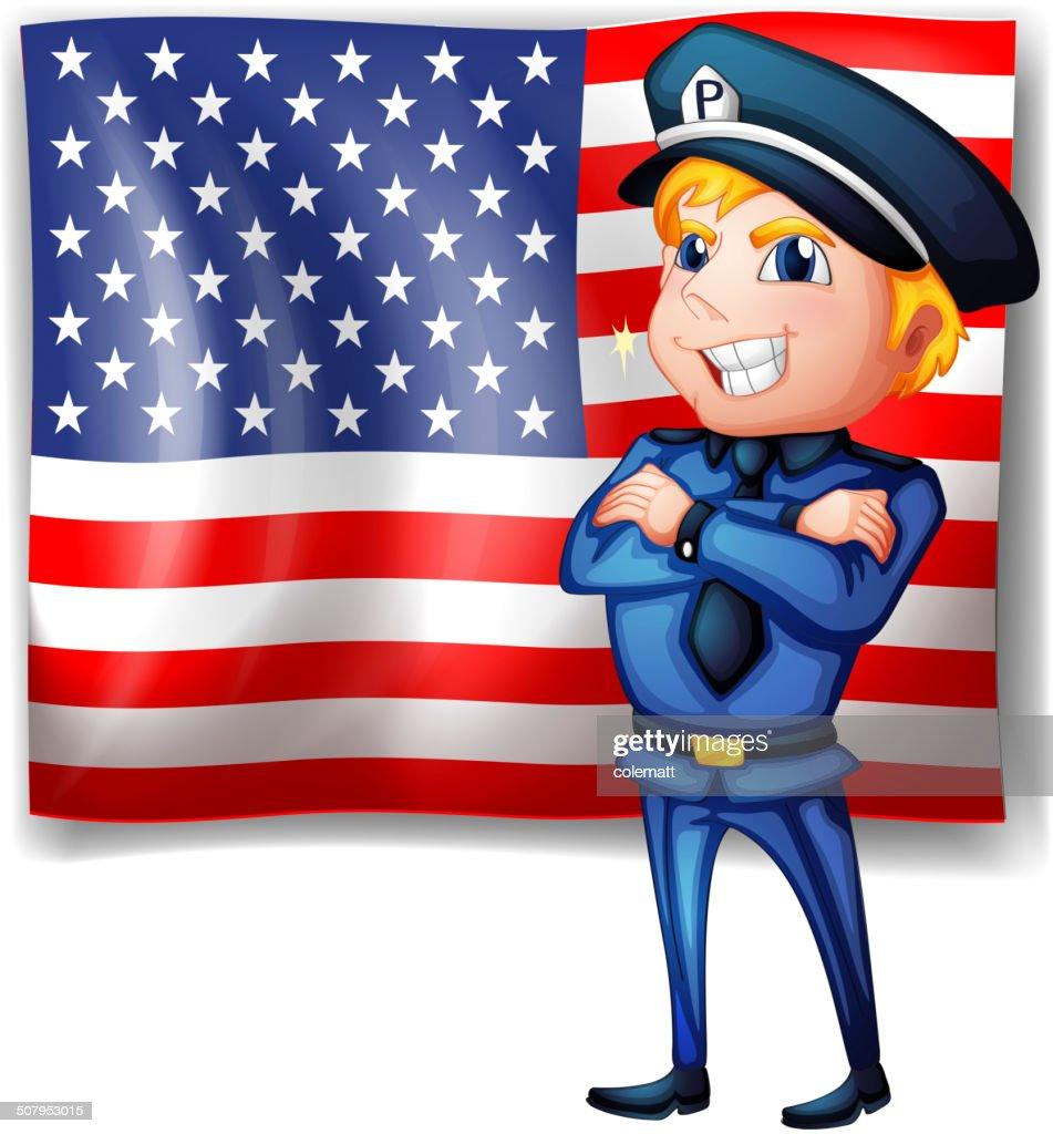 Police near the USA flag