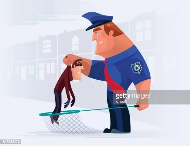 illustrations, cliparts, dessins animés et icônes de policier voleur capture avec filet - voleur