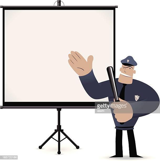 polizist gibt eine präsentation mit projektionsleinwand - projektionswand stock-grafiken, -clipart, -cartoons und -symbole