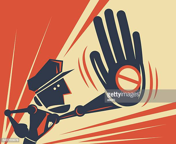 Police officer giving (showing) big hand stop sign