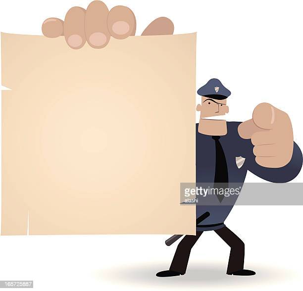 police officer holding a blank sign and pointing at you - filing documents stock illustrations, clip art, cartoons, & icons