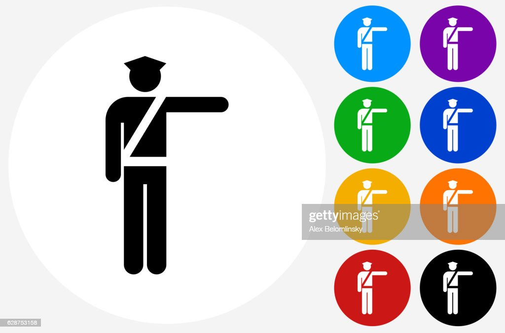 Police Officer Icon On Flat Color Circle Buttons stock