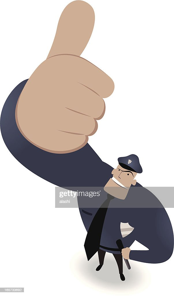 Police Officer Looking Upward And Gesturing Thumbs Up
