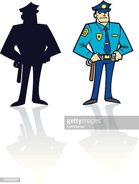 police officer or cop - law and silhouette - governmental occupation stock illustrations, clip art, cartoons, & icons