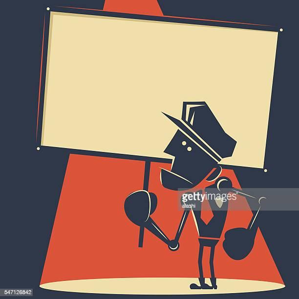 Police officer robot holding blank sign