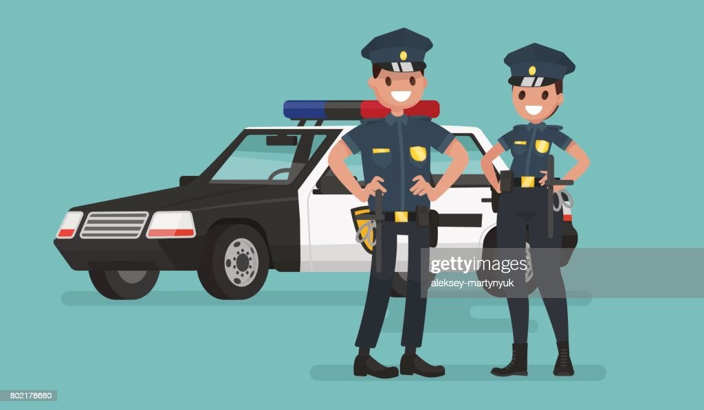 Police officers. Man and woman. Guardians of order. Vector illustration