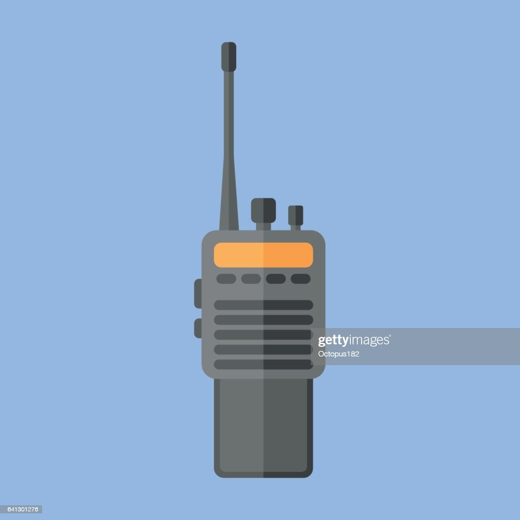 Police radio transceiver set flat icon