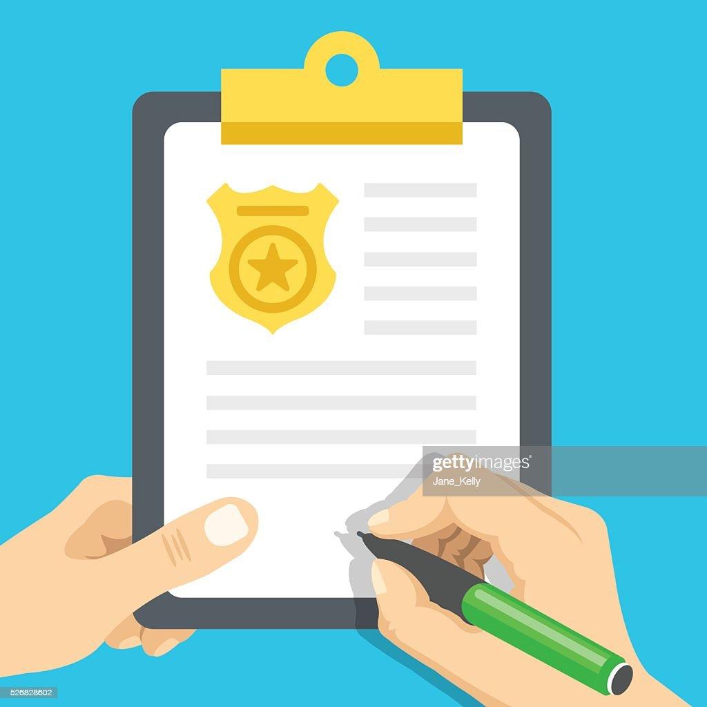 Police report. Traffic, parking fine, citation, crime report. Vector illustration