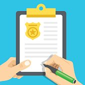 Police report. Traffic, parking fine, citation, crime report. Vector illustration