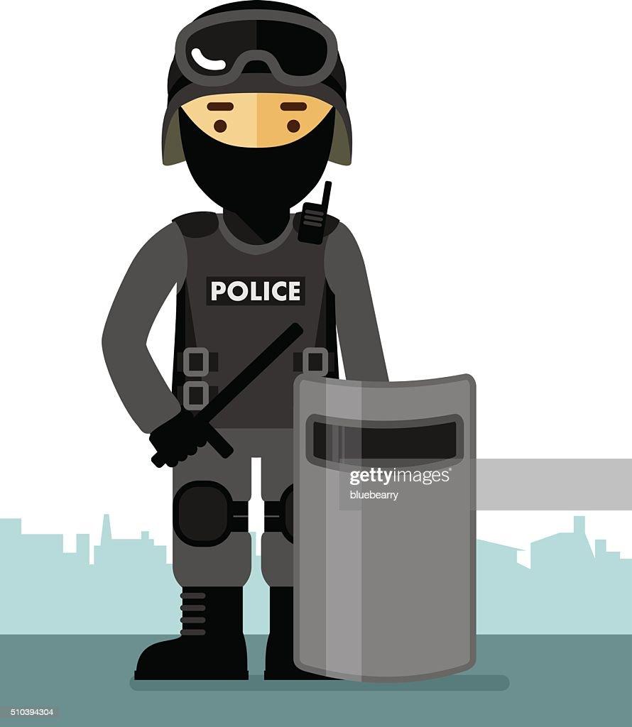 Police riot officer in uniform