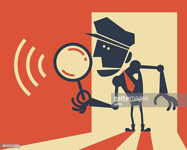 police robot holding a magnifying glass - metropolitan police stock illustrations