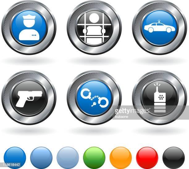 police royalty free vector icon set on metallic button