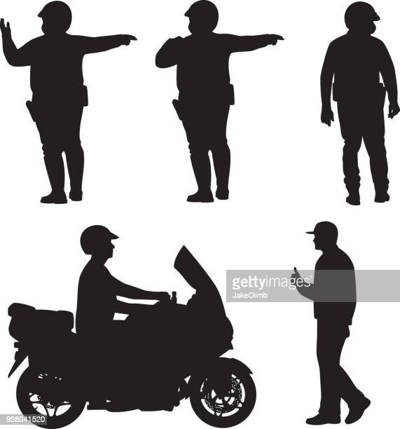 police silhouettes - motorcycle helmet isolated stock illustrations, clip art, cartoons, & icons