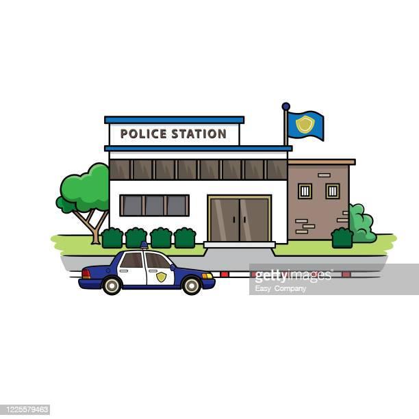 ●フラットなデザインの警察署のイラスト前方に駐車しているパトカーです。教師や児童書を作りたい人のための教材として使用されます。 - 警察署点のイラスト素材/クリップアート素材/マンガ素材/アイコン素材
