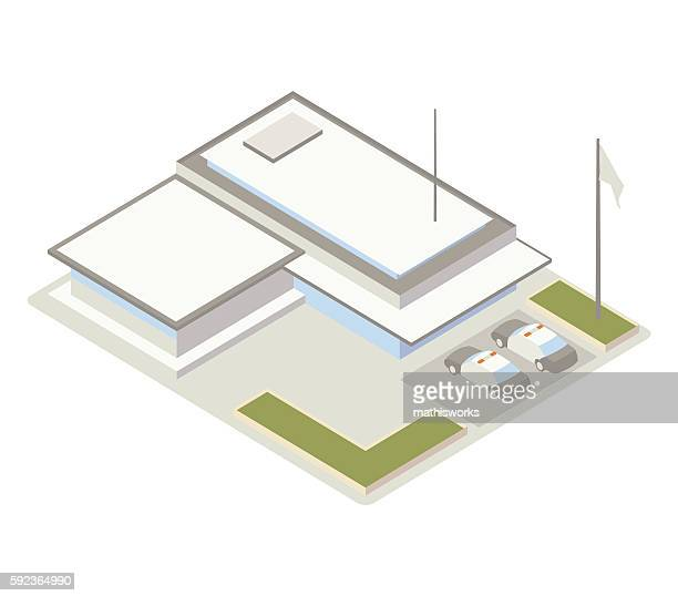 police station isometric illustration - mathisworks architecture stock illustrations