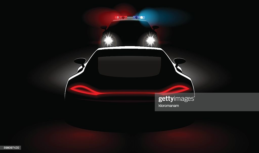 police vehicle detain violators in dark with headlights and taillights