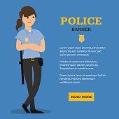 Police Woman Banner. Vector