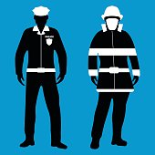 Policeman and Fireman flat icon. Service 911. Vector illustration.
