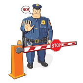Policeman, barrier, stop sign. The ban, border, customs and immigration.