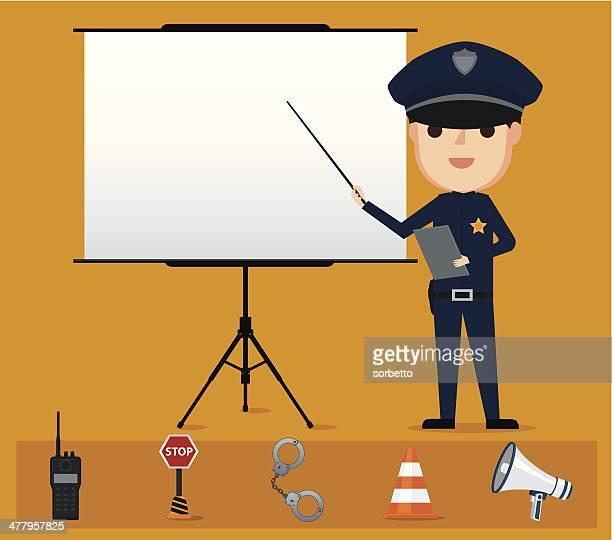 Policeman giving a speech - Illustration