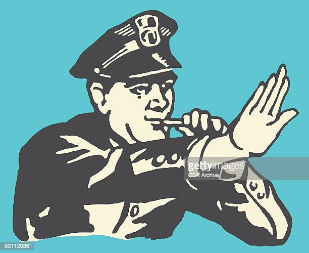 policeman halting traffic - traffic cop stock illustrations