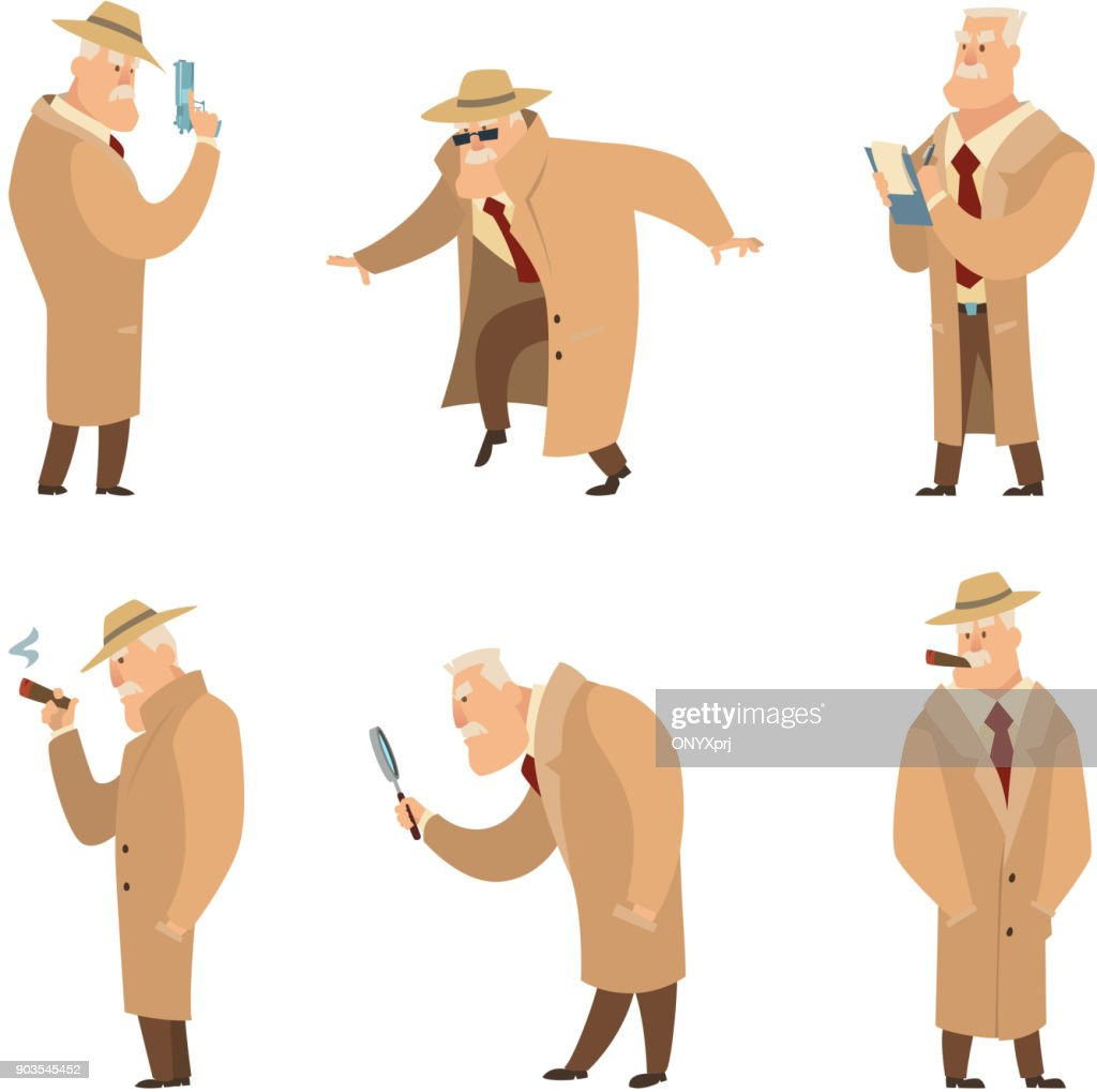 Policeman or detective search criminal. Vector set of funny characters