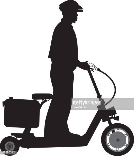 policeman riding scooter silhouette - moped stock illustrations, clip art, cartoons, & icons