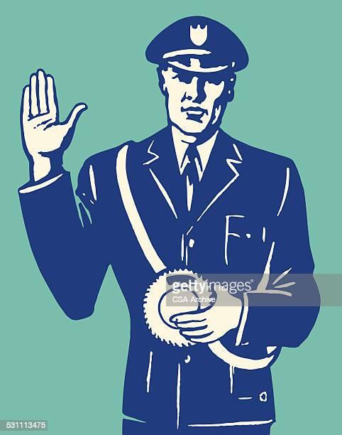 Policeman Signaling Stop