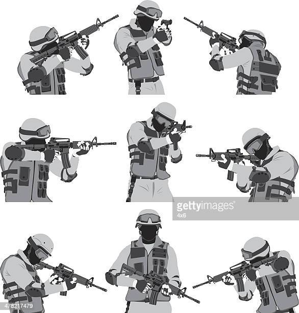 swat policeman - special forces stock illustrations, clip art, cartoons, & icons
