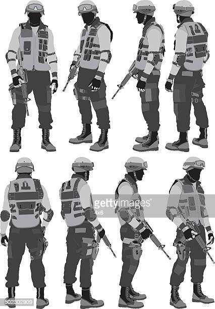 swat policeman - military personnel stock illustrations, clip art, cartoons, & icons