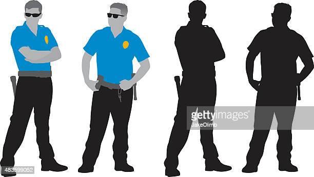 policemen silhouettes - watchmen stock illustrations