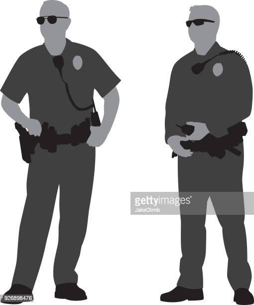 ilustrações, clipart, desenhos animados e ícones de polícias silhuetas - cinto de ferramentas