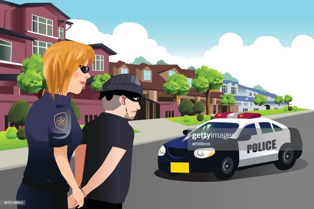 Policewoman Arresting a Criminal