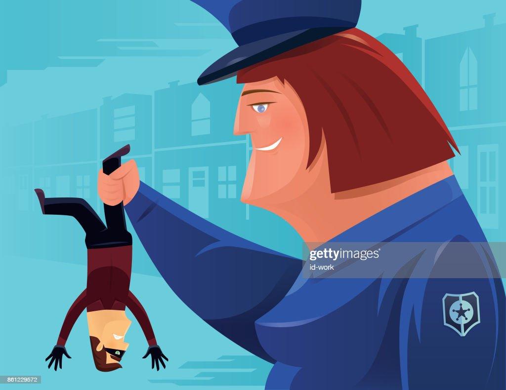 policewoman catching thief