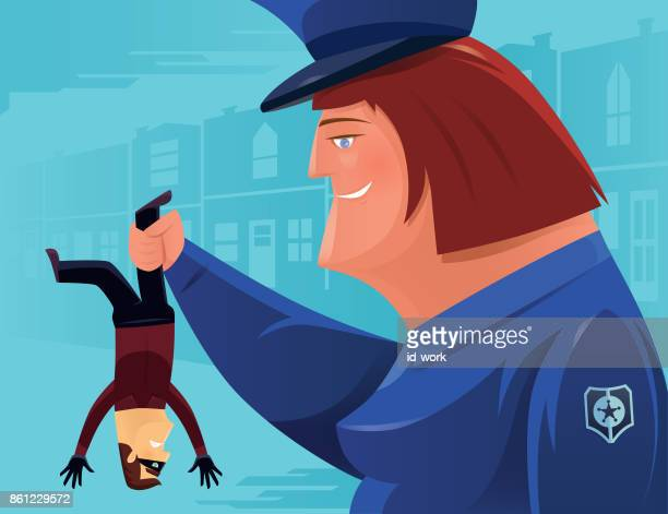 policewoman catching thief - fat female cartoon characters stock illustrations, clip art, cartoons, & icons