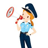Policewoman With Megaphone Announcement