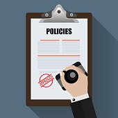 Policies with Approved stamp. Flat Designed Vector Illustration.