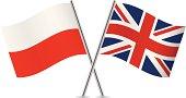 Polish and British flags. Vector.