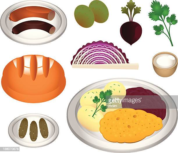 polish cuisine - kotlet schabowy - red cabbage stock illustrations, clip art, cartoons, & icons