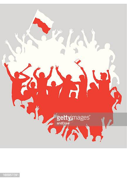 polnische fans in form von polen karte. weiß, rot silhouetten. - polen stock-grafiken, -clipart, -cartoons und -symbole