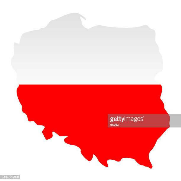 stockillustraties, clipart, cartoons en iconen met poolse vlag in de kaart - polen