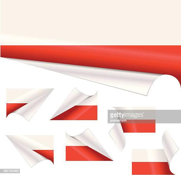polnische flagge hinter gelockter papier - polnische flagge stock-grafiken, -clipart, -cartoons und -symbole