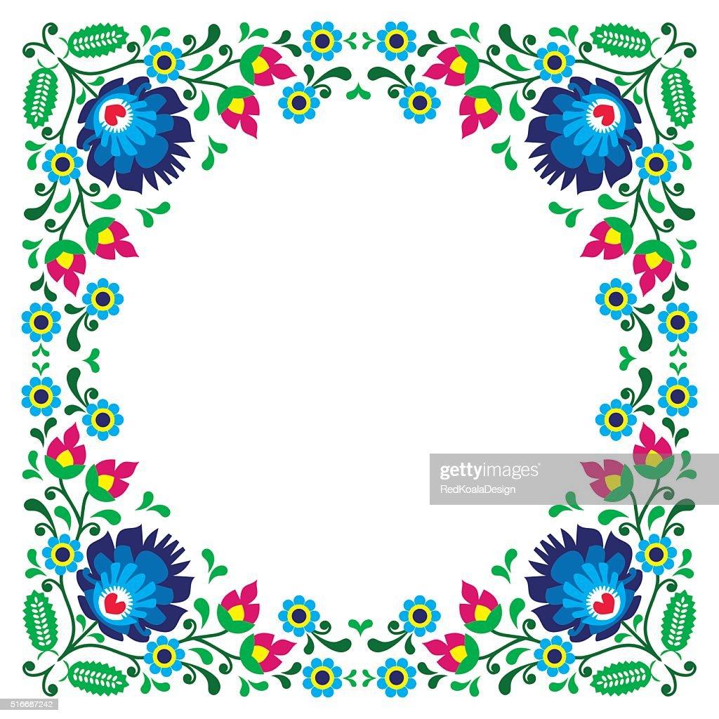 Polish floral folk art embroidery frame pattern