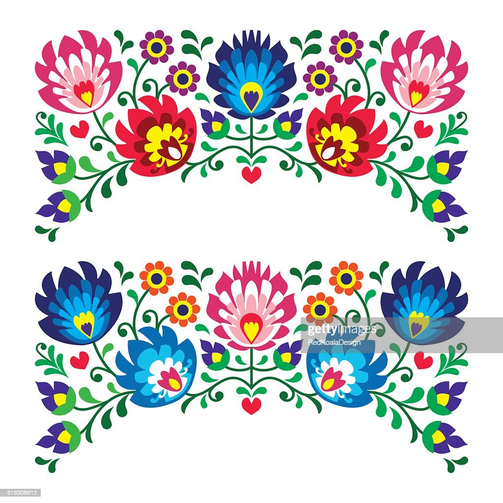 Polish floral folk art embroidery patterns for card