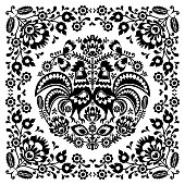 Polish floral folk art square pattern with rooster