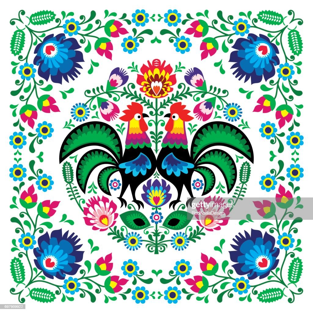 Polish floral folk art square pattern with rooster - wzory lowickie, wycinanki