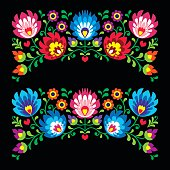Polish floral folk embroidery patterns for card on black